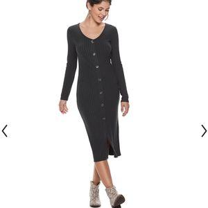 (XS) NWT SO Black Button Front Midi Dress